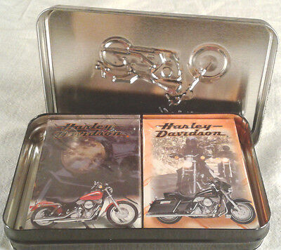 Harley Davidson Tin with 2 Decks of Playing Cards LE 210421/400000 SR  B573