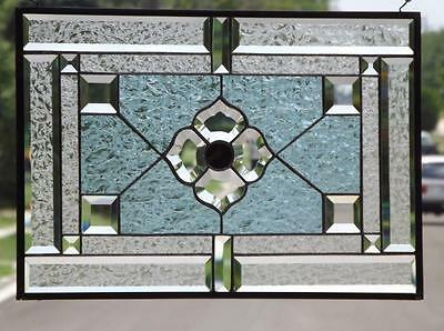 "• Flower Power  •Beveled Stained Glass Window Panel • 21 ½""x14 ½"" (55x37cm)"