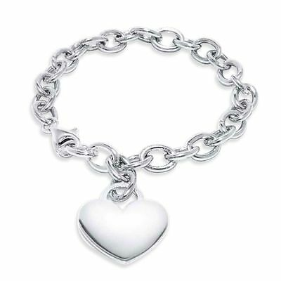 "New .925 Sterling Silver with Large Engravable Heart Charm 7"" Bracelet"