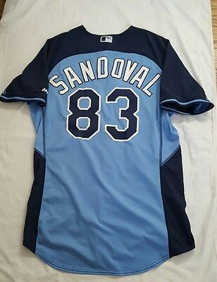 Juan Sandoval game used Tampa Bay Rays sz 46 BP cool base jersey