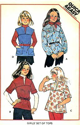 Uncut Sewing Pattern Girls Pullover Tops Size 8. Dated 1976