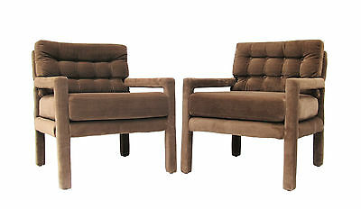 Vintage Pair of Milo Baughman Style Upholstered Parsons Club Lounge Chairs 70's