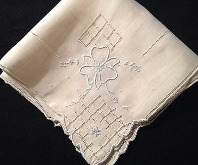 Bridal Vintage Embroidery, Fillet, Drown-work Scalloped Edges Handkerchief, 11""
