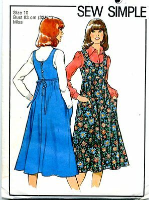 Cut Sewing Pattern Ladies Back Button Bodice Pinafore Dress Size 10. Date 1978