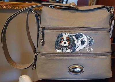 LEATHER ROSETTI TAUPE HANDBAG-Hand Painted Cavalier King Charles