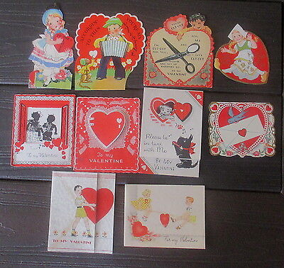 Lot Of 10 Vintage 1938/39 Valentine Cards-Great Condition