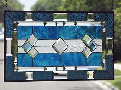 "• Classic Steel Blue •Beveled Stained Glass Window Panel • 28 1/2""x15 1/2""(72x39"