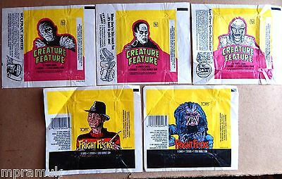 Topps 5 wrapper lot: Creature Feature 1980, Fright Flicks 1987