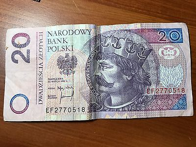 1994 Poland 20 Zlotych world foreign paper money Great condition tiny tear