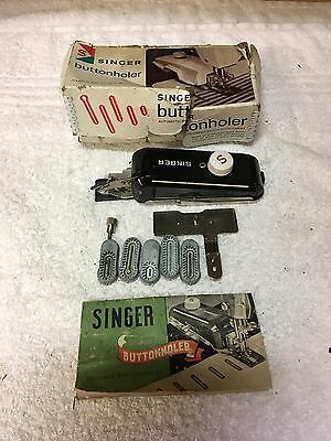 Vintage Singer Buttonholer In Original Box With Instruction Manual