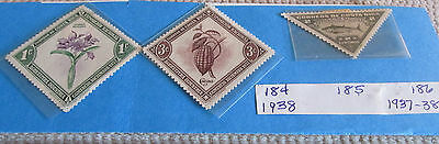 Postage Stamps Costa Rica: Lot of Three (3) Mint Stamps Dated 1937-1938.