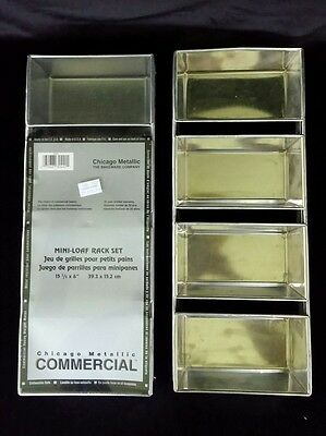 Chicago Metallic COMMERCIAL Mini-Loaf Rack Set 4 Strapped Pans 1 New 1 Used