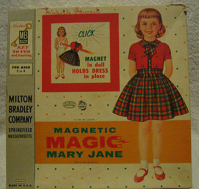 Vintage 1958 Milton Bradley Magnetic Magic Mary Jane 4010-3 paper doll set