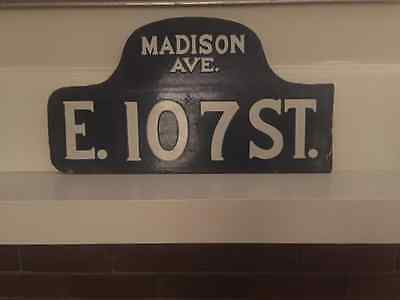 Vintage New York City MADISON AVE E 107 ST Double sided Porcelain Street Sign