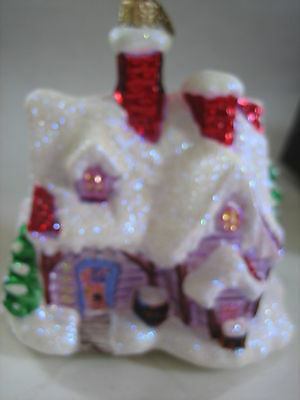 Christopher Radko Christmas Village House With Trees Ornament With Box