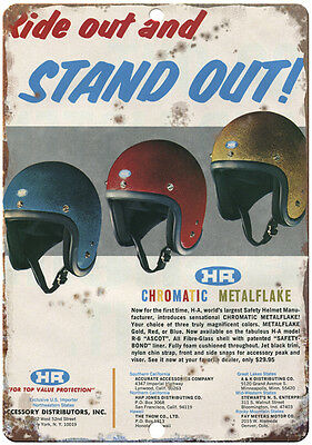 "Mini Bike Helmet 10"" x 7"" Reproduction Metal Sign"
