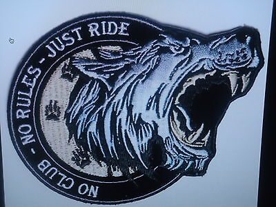 No Club No Rules Just Ride Iron On Biker Patch Harley Davidson Victory Triumph