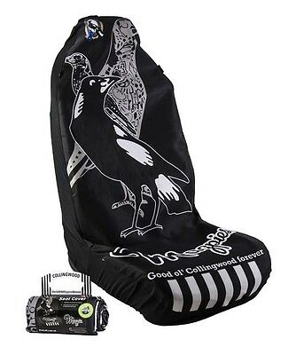 OFFICIAL AFL CAR SEAT COVERS x 2 - COLLINGWOOD - FITS 2 BUCKET SEATS
