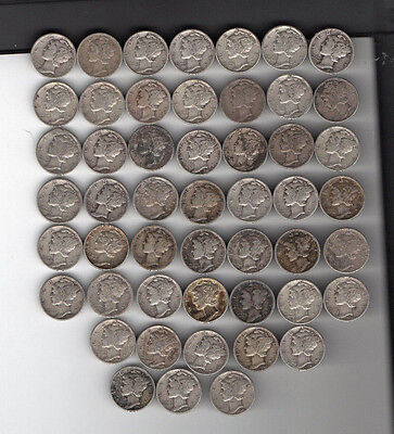 LOT of 50 Mercury SILVER DIMES COINS Circulated mostly 40's readable dates