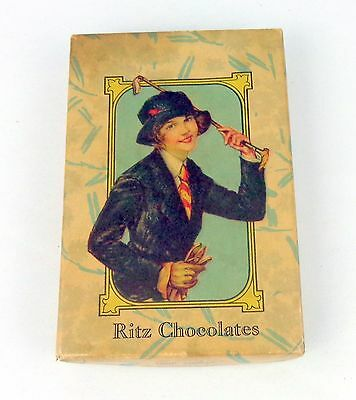 Vintage Ritz Chocolates Candy Box Lady Flapper Hat Riding Crop Circa 1920 Great
