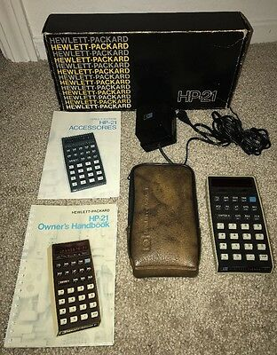 Vintage 1975 - HP-21 CALCULATOR w: Original Manual, Case & Box - Rare Find