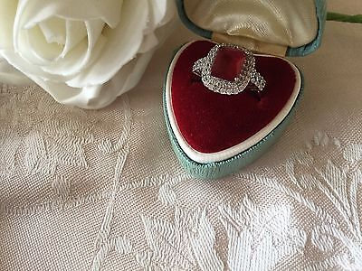 Antique Art Deco Vintage White Gold Ring Ruby Red Sapphire White stones size 7 O