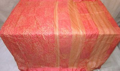 Pure silk Antique Vintage Sari Saree Fabric REUSE 4y Dgi Peach Cream #ABJTH