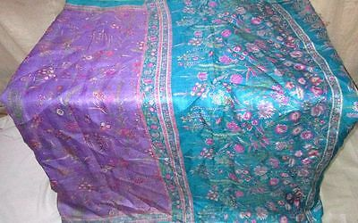 Pure silk Antique Vintage Sari Saree Fabric REUSE 4y Dgi Lavendar Blue #ABJUL