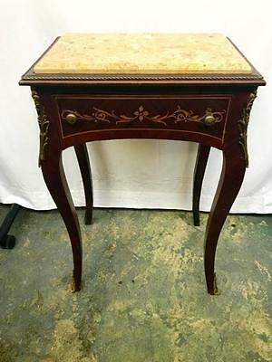 French Louis Xv Marquetry One Drawer Side Table With Marble Top And Ormolus