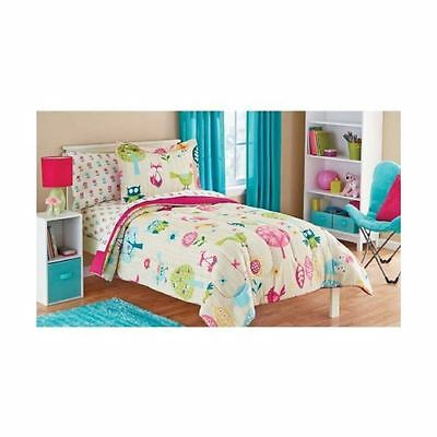 Owl Life White Pink Green and Blue Owl Bird Cute Kids Twin Bedding Set (5 Pie...