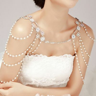 Crystal Wedding Jewelry Bridal Rhinestone Pearl Shoulder Body Chain Necklace Hot