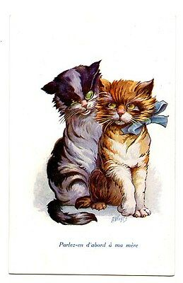 Wuyts vintage cat postcard lovely pair black grey ginger cats CAT CHARITY