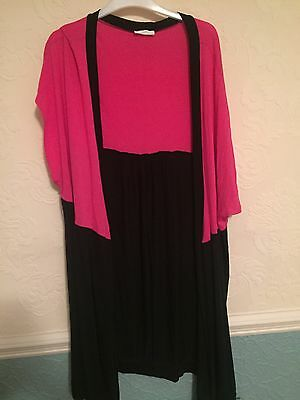 Yours Size 30-32 Jersey Cardi Cover Up Short Sleeve Pink & Black