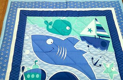 """Brand new, Handmade,""""Sea friends"""", 34x43in, boys,  cotton baby quilted blanket"""