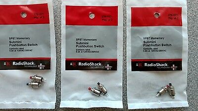 6 Push Button Momentary SubMini Switches, SPST, 275-1571, .5A 125VAC, new