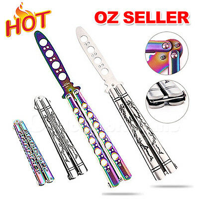 Rainbow Dragon Practice BALISONG METAL BUTTERFLY Sport Trainer Knife Tool +Bag