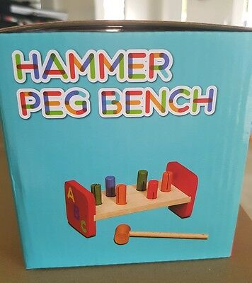 Hammer Peg Bench - wooden baby or toddler toy educational 18+ months