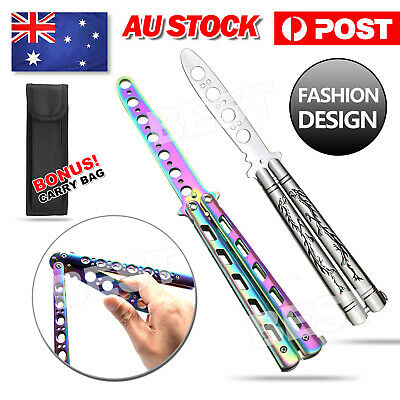 Practice Folding BALISONG METAL BUTTERFLY Steel Trainer Knife Tool With Sheath