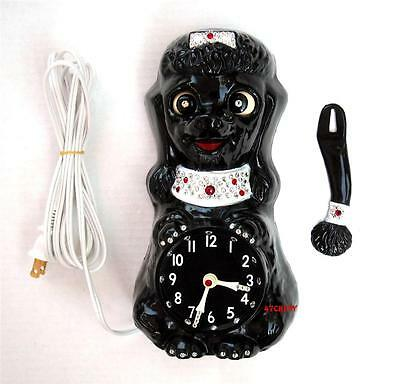 VINTAGE 60's BLACK JEWELED POODLE-KIT KAT CLOCK-KIT CAT KLOCK-ORIGINAL-ELECTRIC