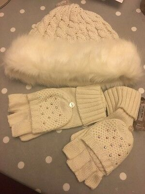 Accessorize Cream Hat And Gloves BNWT