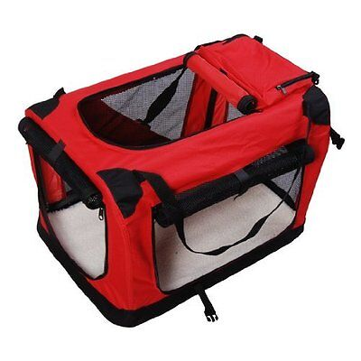 Pet Carrier in Red New Fabric Soft-Sided Dog Cat Travel Bag with Carry Handles