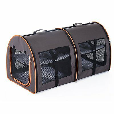 Twin System Travel Pet Carrier New Lightweight Pet Bag With Carrying Handle Gray