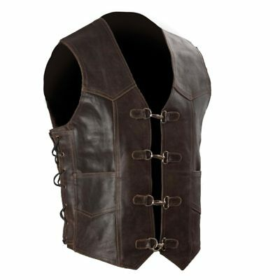 Dark Brown Retro Leather Vest with Metal Clasps S-8XL