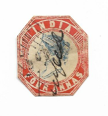 1855 4a Blue and Red. Cut to Shape. Close/No Margins. SG 23. Nice Used