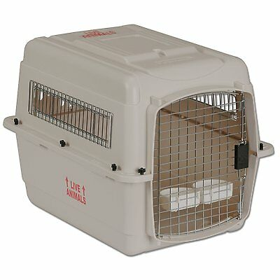 Vari Traditional Dog Kennel in Bleached Linen New Pet Carrier with Carry Handle