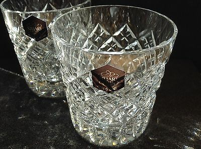 Stewart Crystal Pair Of Whiskey Glasses/Tumblers...New.