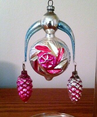 vtg antique German annealed arms Xmas ornament Germany glass pink pine cones