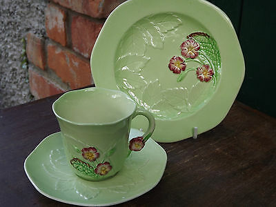 Vintage Carlton Ware Green Primula Cup Saucer & Plate  Fully Stamped 3 available