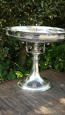 Antique Silver Plated Tall Elaborate Terrazza Comport by James Deakin & Sons