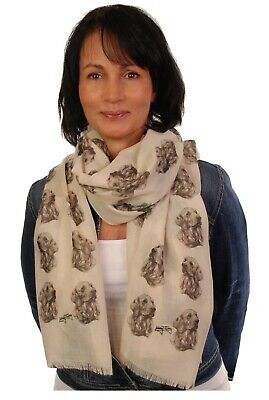 scarf with Golden Retriever dog on womens fashion printed shawl wrap mike sibley